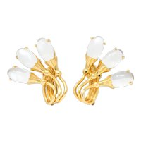 Tiffany & Co. Retro Moonstone 14 Karat Gold Cattail Ear-Clip Earrings