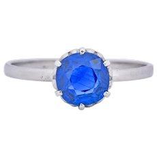 Edwardian 1.59 CTW No Heat Burma Sapphire Platinum Heart Alternative Engagement Ring AGL