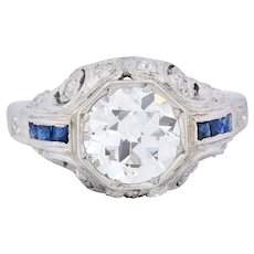 Art Deco 1.83 CTW Diamond Sapphire Platinum Engagement Ring GIA