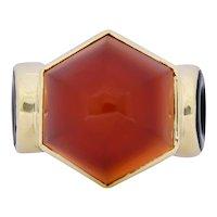 Walter Lampl Art Deco Carnelian Onyx 14 Karat Gold Cocktail Ring Circa 1930's