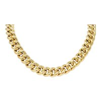 Vintage Italian 14 Karat Gold Puffed Curb Link Necklace