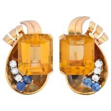 Retro 29.26 CTW Citrine Diamond Sapphire 14 Karat Gold Ear-Clip Earrings