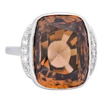 Retro 12.08 CTW Zircon Diamond Platinum-Topped 14 Karat White Gold Ring 1940's