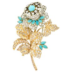 Large 8.00 CTW Diamond Turquoise 18 Karat Two-Tone Gold Floral En Tremblant Brooch