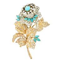 Large Victorian 8.00 CTW Diamond Turquoise 18 Karat Two-Tone Gold Floral En Tremblant Brooch