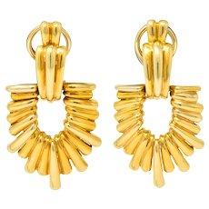 Aldo Cipullo Cartier Vintage 18 Karat Gold Door Knocker Ear-Clip Earring 1970's