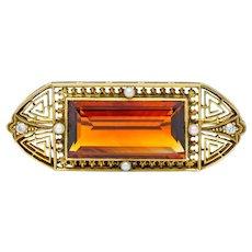 Walton & Co. Art Deco 10.46 CTW Citrine Pearl Diamond 14 Karat Gold Brooch