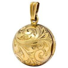 British 9 Karat Yellow Gold Engraved Ball Locket Pendant