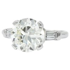 1950's Retro 3.85 CTW Diamond Platinum Three Stone Engagement Ring GIA