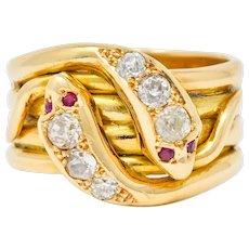 1902 British Victorian Diamond Ruby 18 Karat Gold Snake Band Ring