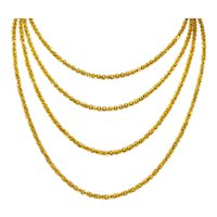 Continental Victorian 19 Karat Yellow Gold Spherical Long Chain