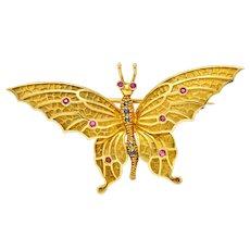 Tiffany & Co. Sapphire Ruby 18 Karat Green Gold Butterfly Brooch