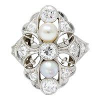 Lacy Edwardian Diamond Natural Pearl Platinum Dinner Ring
