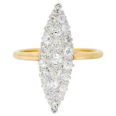Edwardian 0.88 CTW Diamond Platinum-Topped 14 Karat Gold Navette Cluster Ring