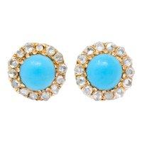 Victorian Turquoise Rose Cut Diamond 18 Karat Gold Cluster Earrings