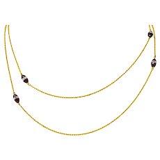 Art Nouveau Garnet Rock Crystal 14 Karat Yellow Gold Fancy Long Chain Necklace