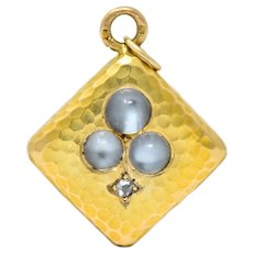 French Victorian Moonstone Diamond 18 Karat Gold Spades Pendant Charm