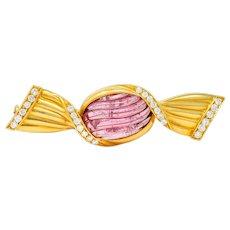 Bulgari Pink Tourmaline 18 Karat Gold Bonbon Candy Brooch