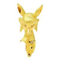 French 1960's Diamond Ruby Sapphire 18 Karat Gold Sculpted Fox Brooch