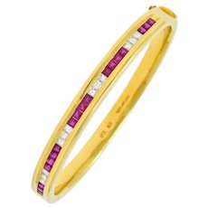 Tiffany & Co. Vintage 3.36 CTW Diamond Ruby 18 Karat Gold Bangle Bracelet