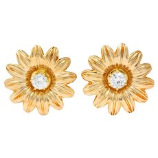 Retro Tiffany & Co. Diamond 14 Karat Gold Flower Screw Back Earrings