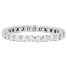 Contemporary 1.00 CTW Diamond Platinum Bar Set Eternity Band Stack Ring
