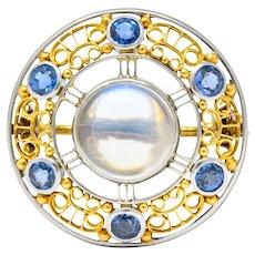 Louis Comfort Tiffany & Co. Art Nouveau Sapphire Moonstone Platinum-Topped 18 Karat Gold Brooch