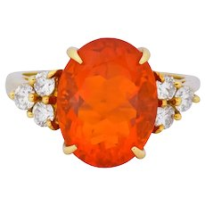 Tiffany & Co. Vintage 4.86 CTW Fire Opal Diamond 18 Karat Gold Ring