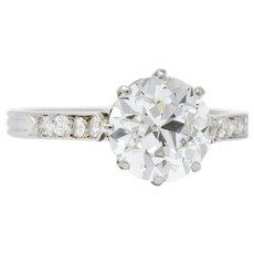 Enticing Edwardian 2.68 CTW Diamond Platinum Engagement Ring GIA