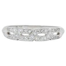 Enchanting Edwardian Diamond Platinum Trellis Band Ring