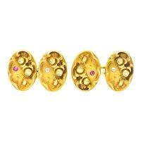Art Nouveau Diamond Ruby 14 Karat Gold Floral Cufflinks