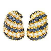 Vintage 15.50 CTW Sapphire Diamond 18 Karat Gold Cluster Earrings
