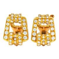 Bulgari Diamond 18 Karat Gold Link Ear-Clip Earrings