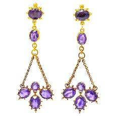 Victorian Etruscan Revival 4.52 CTW Amethyst 18 Karat Gold Chandelier Earrings Circa 1870's