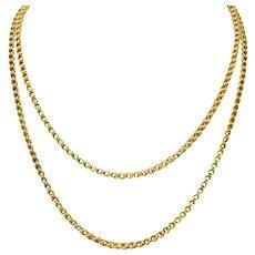 Victorian Enamel 10 Karat Gold Barrel Clasp Longchain Chain Necklace