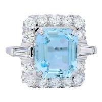 Vintage 9.58 Carats Aquamarine Diamond 14 Karat White Gold Cluster Ring