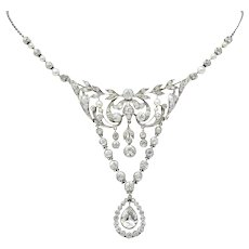 Frank Walter Lawrence & Gustav Manz Edwardian 7.20 CTW Diamond Platinum Drop Necklace