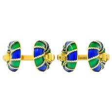 Green Blue Enamel 18 Karat Yellow Gold Men's Cufflink