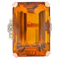 Retro 1950's Citrine Diamond 14 Karat Gold Statement Cocktail Ring
