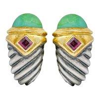 David Yurman Chyrsoprase Rhodolite Garnet 14 Karat Gold Sterling Silver Renaissance Shrimp Earrings
