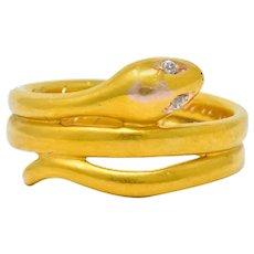 1870's Victorian Old Mine Cut Diamond 18 Karat Gold Snake Band Ring