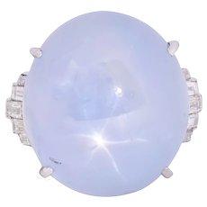 Art Deco Star Sapphire Cabochon Diamond Platinum Cocktail Ring