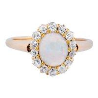 Victorian Opal Diamond 18 Karat Rose Gold Cluster Ring Circa 1900