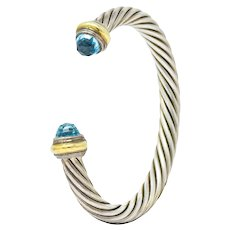 David Yurman Blue Topaz 14 Karat Gold Sterling Classic Cable Cuff Bracelet