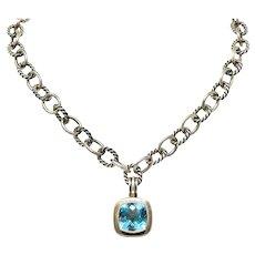 David Yurman Blue Topaz Sterling Silver Albion Enhancer Linked Necklace