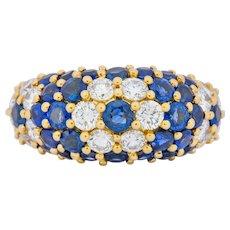 5.06 CTW Sapphire Diamond 18 Karat Gold Bombay Floral Band Ring