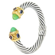 David Yurman Chrysoprase Iolite Garnet 14 Karat Gold Sterling Silver Renaissance Cuff Bracelet