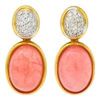 H. Stern Diamond Rhodochrosite 18 Karat Gold Drop Vintage Earrings