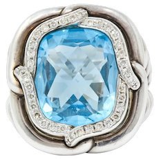 David Yurman Blue Topaz Diamond Sterling Silver 14 Karat Gold Labyrinth Ring