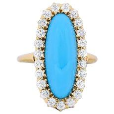 Victorian Tiffany & Co. 2.00 CTW Diamond Turquoise 18 Karat Gold Cluster Ring 1880